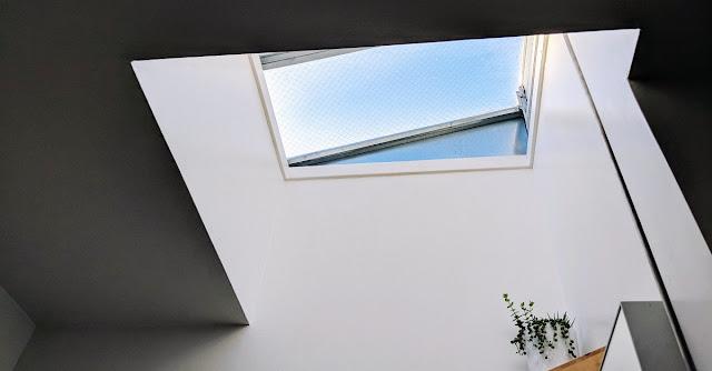 Bathroom with a large skylight.