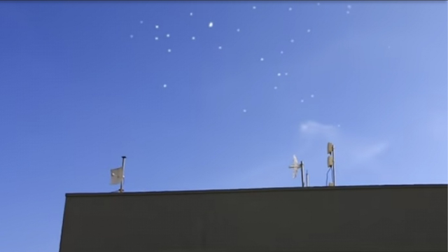 Massive cluster of UFOs passing over Mexican city.