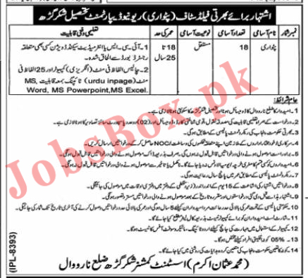 Revenue Department Government of Punjab Jobs 2021 in Pakistan