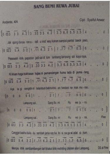 Lirik Lagu Sang Bumi Ruwa Jurai Beserta Not Angka dan Kunci Chord Gitar Lengkap Artinya