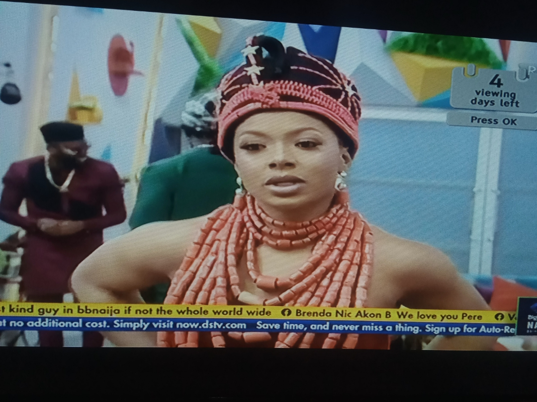 BBNaija: Pictures of the outstanding native outfit Liquorose wore tonight