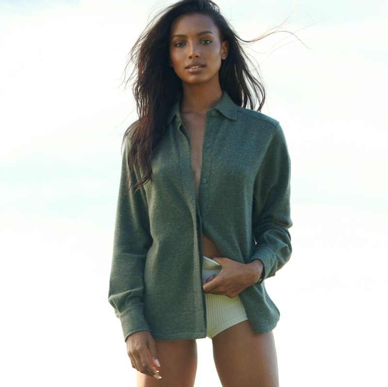Model Jasmine Tookes fronts NAKEDCASHMERE NAKED in October 2021 campaign. Photo: David Lipman