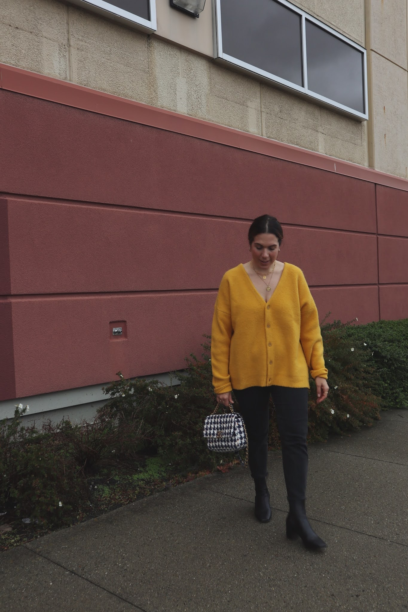 Levi's yellow cardigan outfit chanel 19 handbag yellow sweater outfit