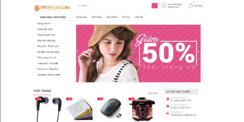 Mẫu website bán hàng online free
