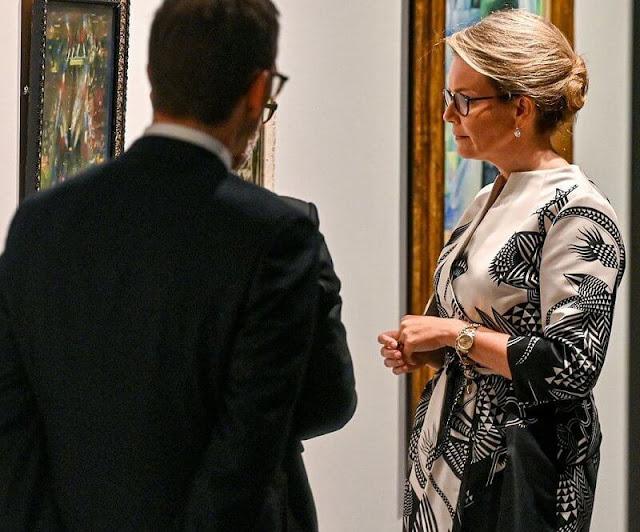 Queen Mathilde wore a new ecru print silk satin dress from Natan Fall Winter 2021 Collection