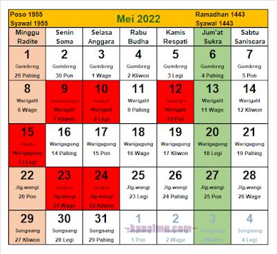 kalender jawa bulan mei 2022 - kanalmu