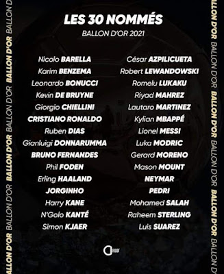 قائمة اللاعبين المرشحين لنيل جائزة الكرة الذهبية لعام 2021