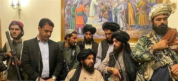 Taliban fighters enter the Presidential Palace in Kabul, Afghanistan, after taking control of the capital. Illustration: AP