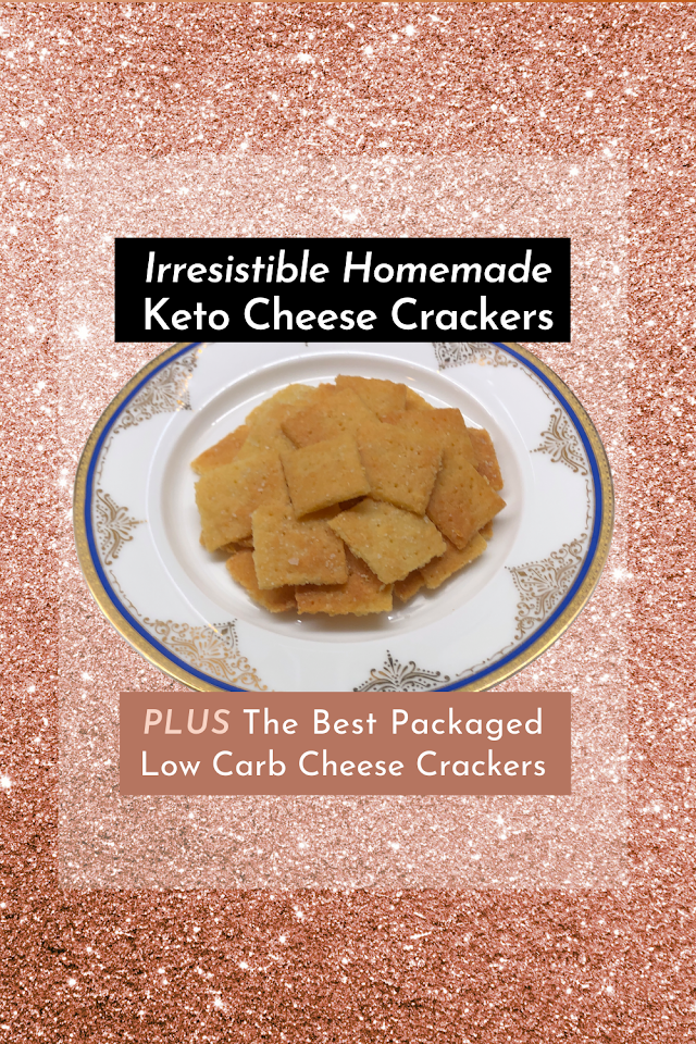 Crisp, Salty and Satisfying Keto Cheese Crackers with photo of crackers on plate