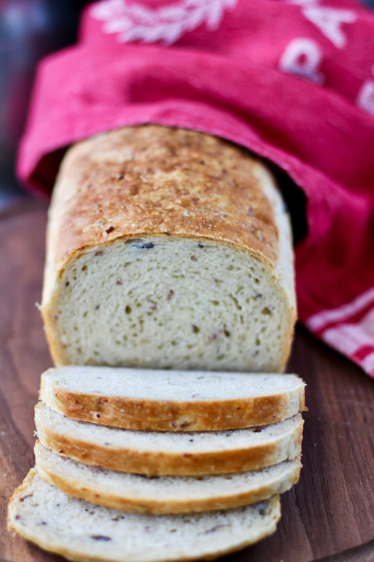 Wild Rice and Onion Bread sliced.