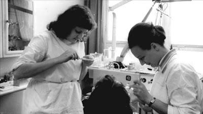 two nurses in dental old photo