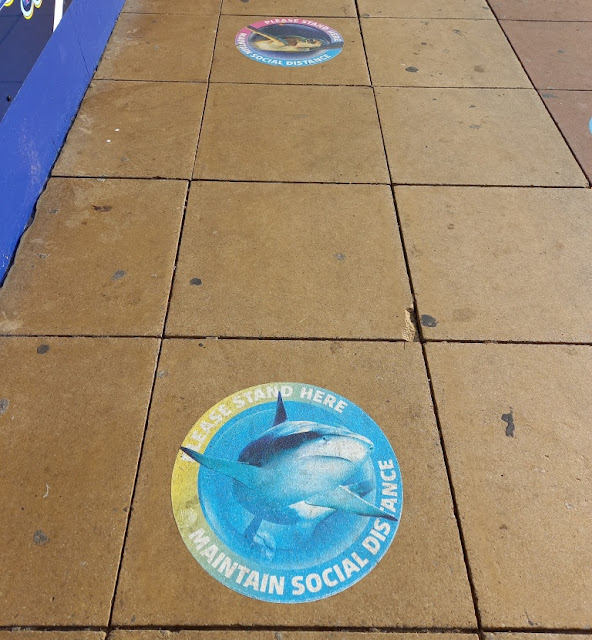 Social distancing signs at the SEA LIFE centre in Blackpool