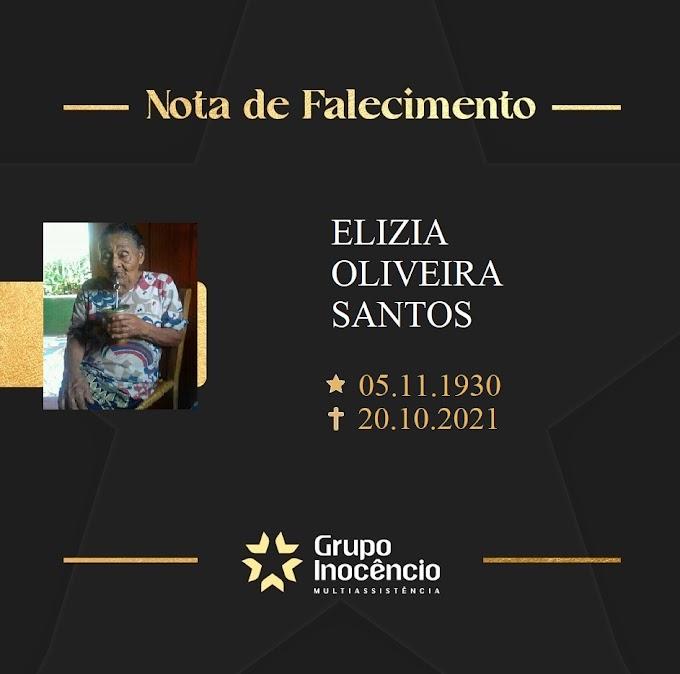 Nota de Pesar da senhora Elizia Oliveira Santos, 90 anos