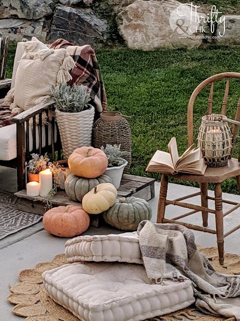 Outdoor fall decor, fall patio decor, fall decor, fall porch decorating ideas, fall decor ideas for the home, patio decorating ideas, patio lights string, patio ideas
