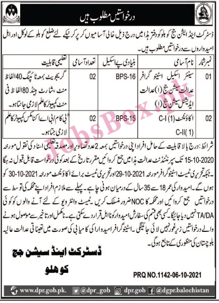 District and Session Courts Kohlu Jobs 2021 in Pakistan