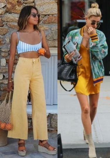 Combinações de cores para looks estilosos, Julie Sarinana, Hailey Bieber,