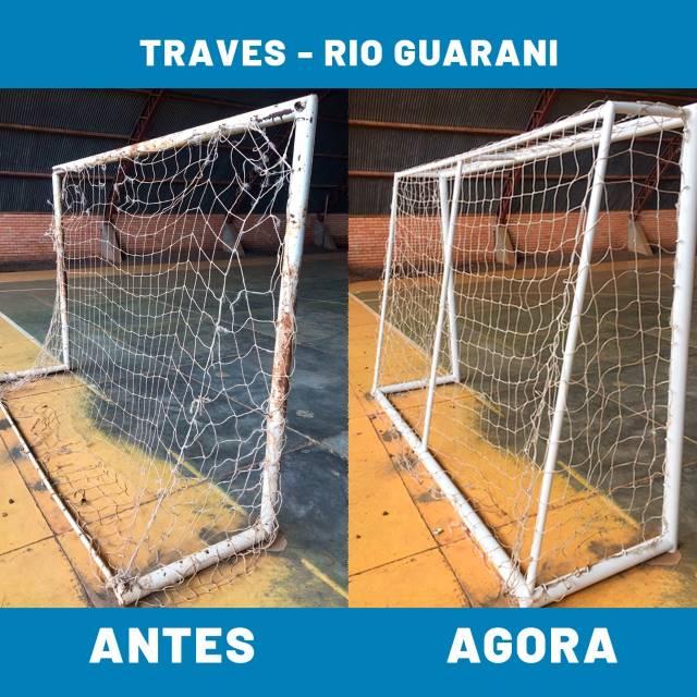 Nova Laranjeiras: Secretaria de Esportes adequa as traves do ginásio do distrito Rio Guarani