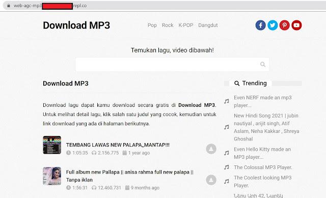 tampilan web agc mp3 dengan server replit