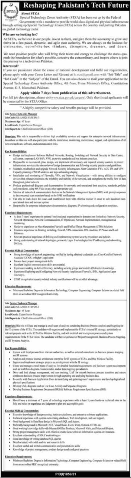 Jobs in Special Technology Zon Authority STZA