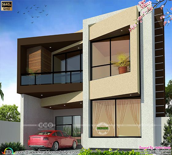 1455 Sq.ft. Contemporary style house elevation design