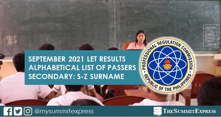 S-Z Passers LET Result: September 2021 Secondary