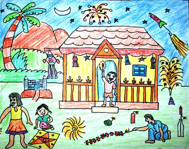 Diwali Festival Drawing For Kids | Deepavali Drawing