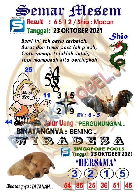 Syair Semar Mesem SGP Sabtu 23-Okt-2021