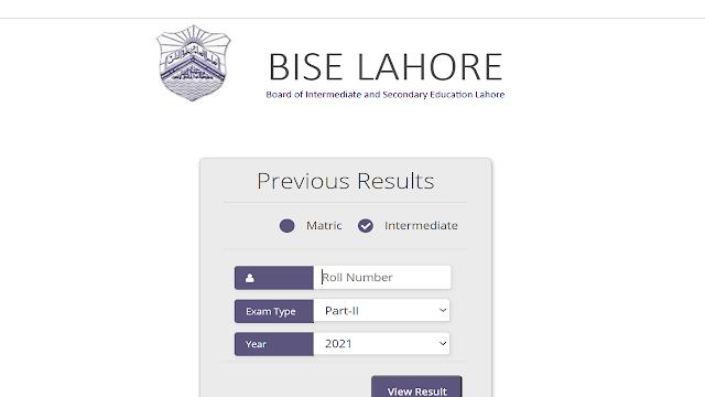 BISE Lahore Intermediate Result 2021