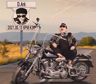 Yoo Hye-yeon's husband sitting in a bike