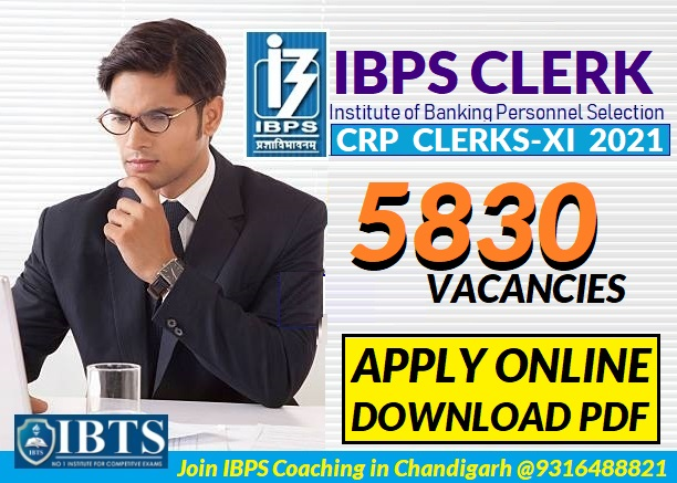 IBPS Clerk Recruitment 2021: Apply Online for 5830 Post (Download Notification PDF)