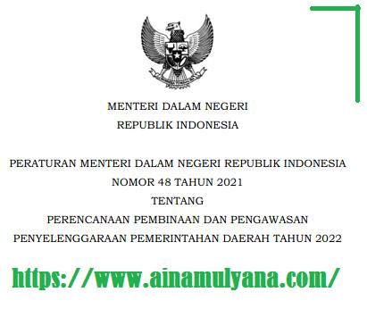 Permendagri Nomor 48 Tahun 2021 Tentang Perencanaan Pembinaan Dan Pengawasan Penyelenggaraan Pemerintahan Daerah (Pemda) Tahun 2022