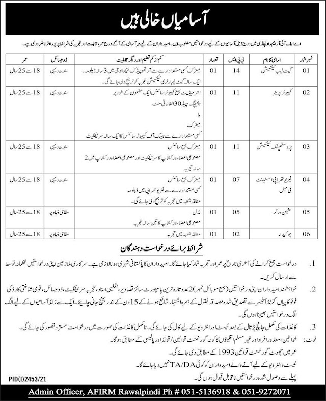 Armed Forces Institute of Regenerative Medicine AFIRM Rawalpindi, Pakistan Army, Government of Pakistan Jobs 2021
