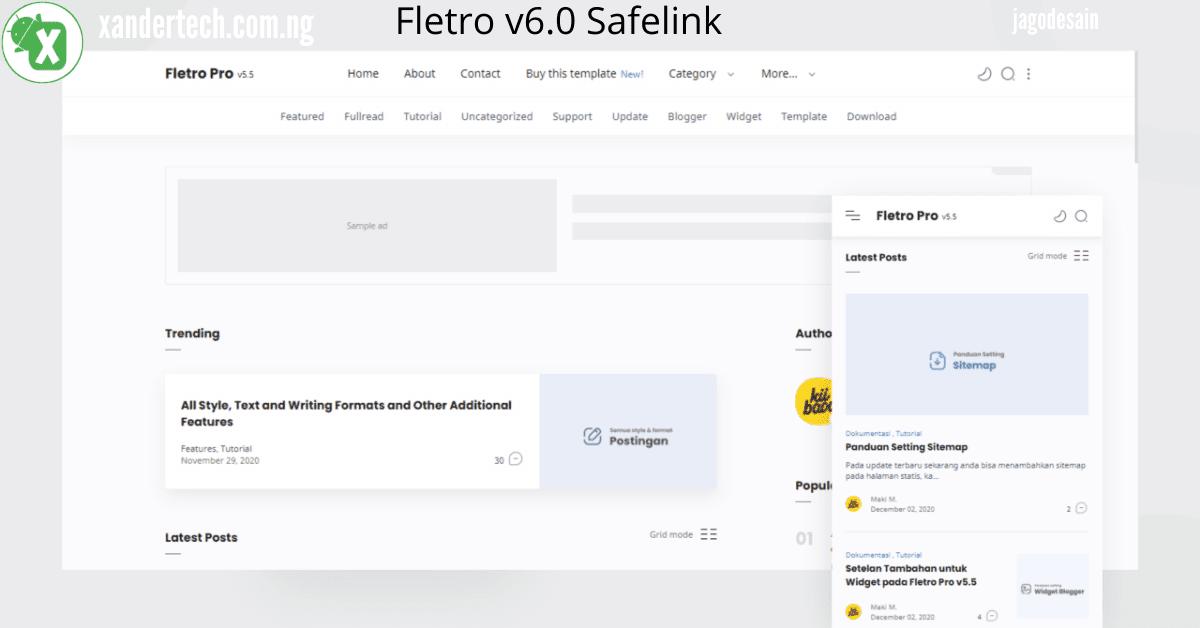 Fletro v6.0 Safelink Responsive Blogger Template Free Download
