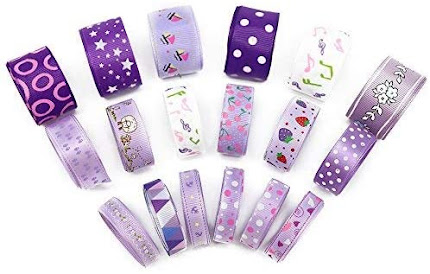 Purple Pattern Grosgrain Ribbons for Accessories