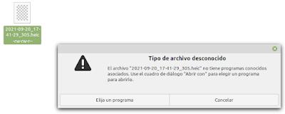 El archivo .heif no tiene programas conocidos asociados