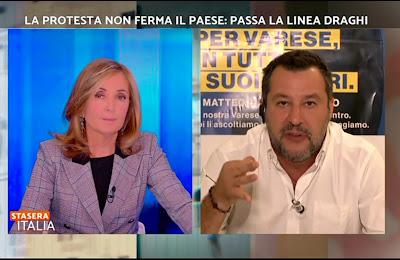 Barbara Palombelli Stasera Italia Matteo Salvini 15 ottobre