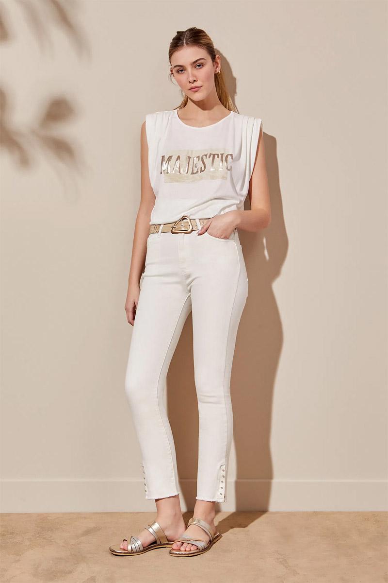 moda jeans de verano mujer 2022 blancos