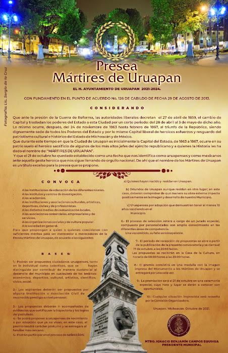 """La convocatoria para la Presa """"Mártires de Uruapan"""""""