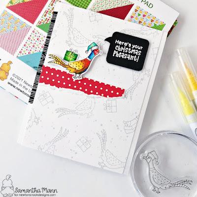 Christmas Pheasant Card by Samantha Mann for Newton's Nook Designs, Christmas, Christmas Card, Card Making, handmade cards, #newtonsnook #newtonsnookdesigns #christmas #christmascard #pheasant