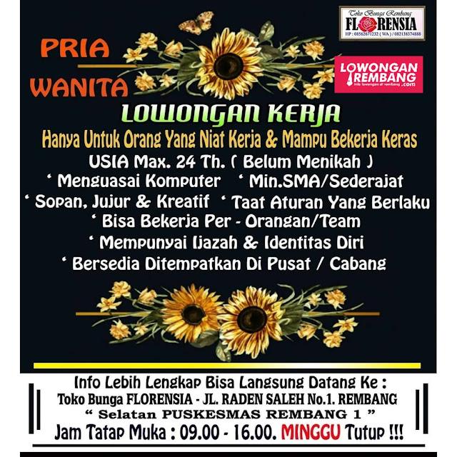 Lowongan Kerja Pegawai Toko Bunga Florensia Rembang