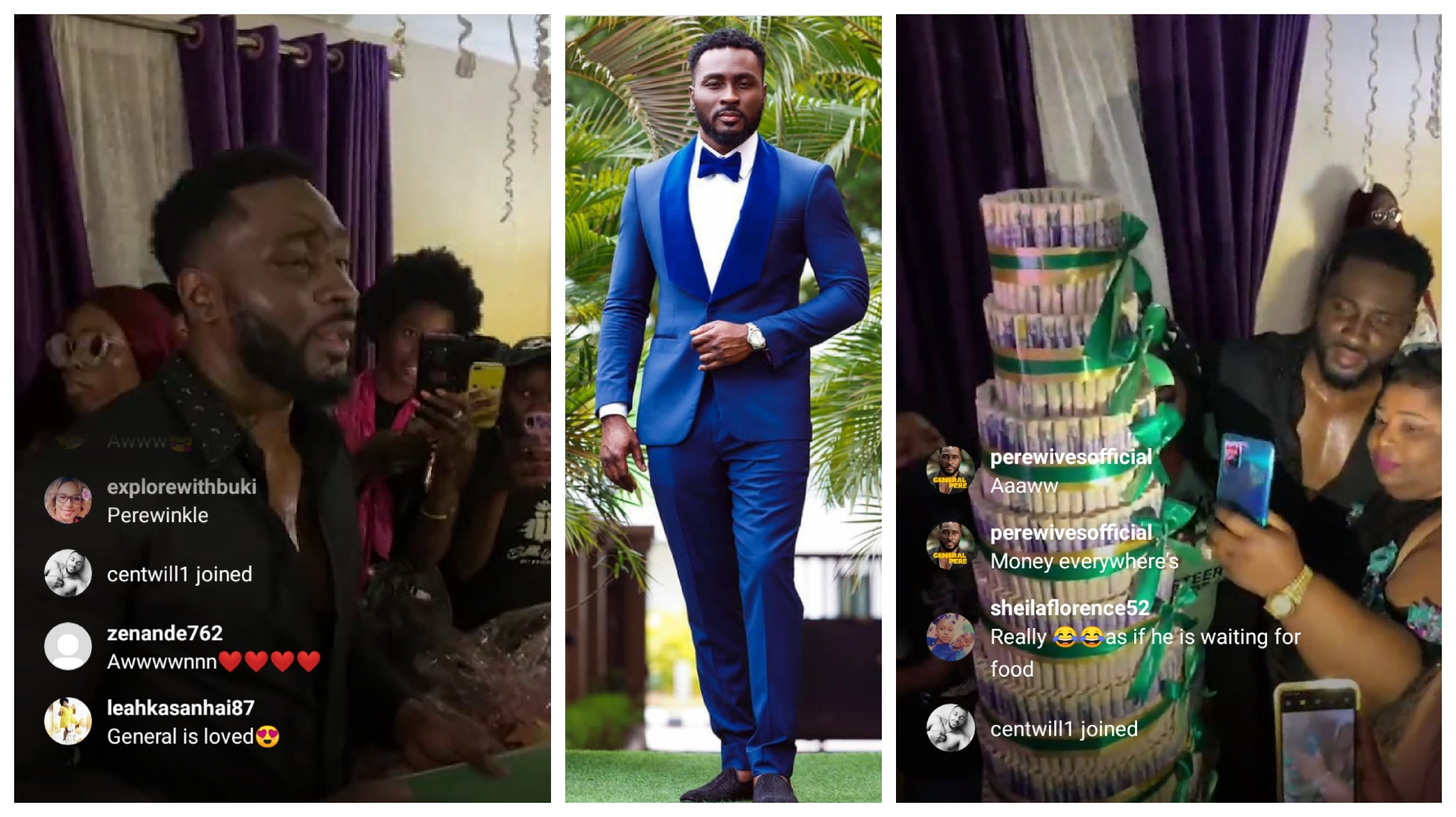 Pere ina wow state as fans shower him with money towerand other lovely gifts tonight (video)
