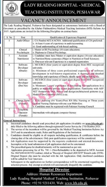 lady-reading-hospital-lrh-peshawar-jobs-2021