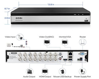 ZOSI H.265+ 16Channel 1080P Video Security DVR Recorder