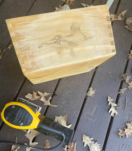 Christmas Makeover Of A Thrifted Ducks Unlimited Box With Old Sign Stencils & Decor Transfers