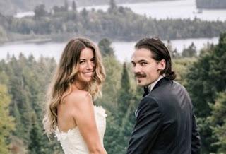 Linzey Rozon with her spouse Tim Rozon in their wedding dress