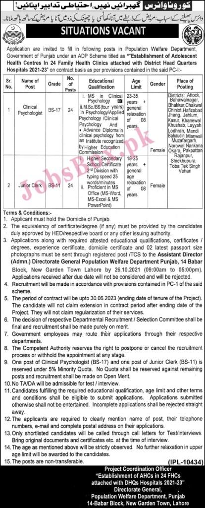 Population Welfare Department Punjab Jobs 2021 in Pakistan