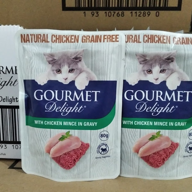 pouch gourmet delight 80g - with chicken gravy - sachet or cat food