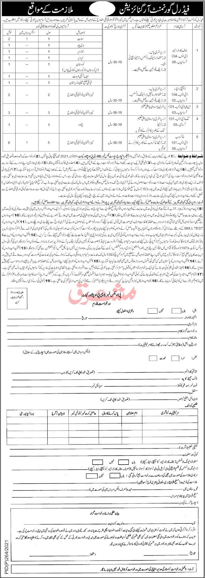 Federal Government Organization PO Box No.6 GPO Peshawar Jobs 2021