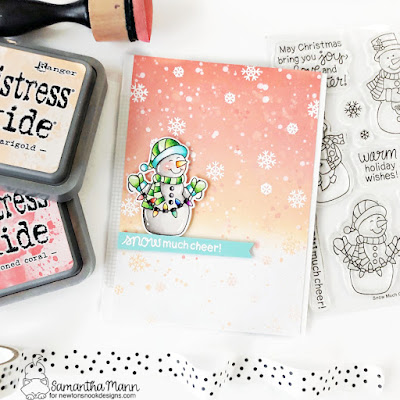 Snow Much Cheer Card by Samantha Mann for Newton's Nook Designs, Christmas, Christmas Card, Card Making, handmade Cards, Card, Distress Ink, Ink blending #newtonsnook #newtonsnookdesigns #christmascards #christmas #snowman #cardmaking