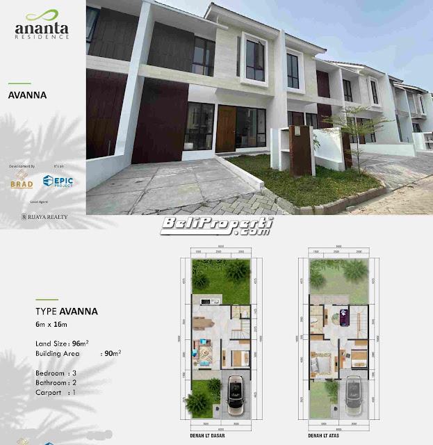 rumah dijual di ananta residence